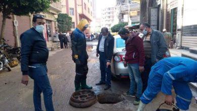 صورة تطهير خطوط الصرف الصحي وإصلاح الاخطار ورفع المخلفات بدسوقفى كفرالشيخ