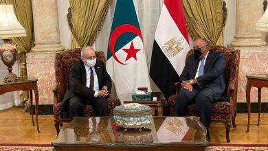 صورة وزير الخارجية المصري يعقد جلسة مباحثات مع نظيره الجزائري بالقاهرة .