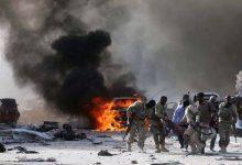 صورة قتلى وجرحى في انفجار قرب القصر الرئاسي في مقديشيو .