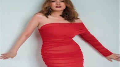 صورة رحمة حسن بالأحمر في أحدث جلسة تصوير (صور)