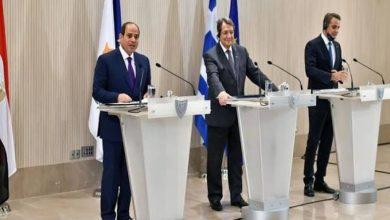 صورة السيسي خلال قمة مصر وقبرص واليونان: اتفقنا على ضرورة التصدى للتنظيمات الإرهابية في سوريا .