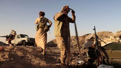 """صورة معارك ضارية في أطراف """"الجوبة"""" والتحالف يدمر رتلاً عسكرياً قادماً من """"بيحان"""" وقتلى المليشيا يفوق الـ200 صريع"""